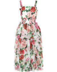 95a49038 Dolce & Gabbana Rose-print Cady Midi Dress in Pink - Lyst