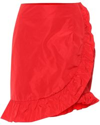 ALEXACHUNG - Ruffled Taffeta Miniskirt - Lyst