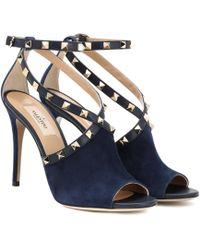 Valentino - Garavani Suede Rockstud Court Shoes - Lyst