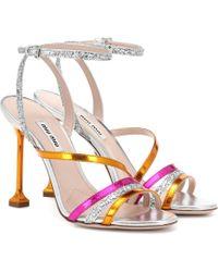 Miu Miu - Metallic Leather Sandals - Lyst
