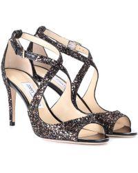 Jimmy Choo - Emily 85 Glitter Sandals - Lyst