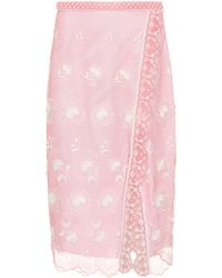 Burberry - Floral-embroidered Tulle Skirt - Lyst