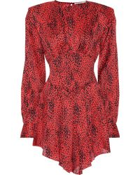 Alessandra Rich - Leopard Silk Jacquard Mini Dress - Lyst