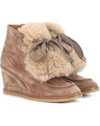 Chloé - Shearling-trimmed Suede Ankle Boots - Lyst