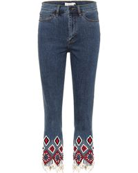 Tory Burch - Mia Embellished Jeans - Lyst