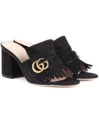 Gucci - Suede Slip-on Sandals - Lyst
