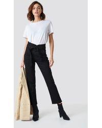 NA-KD - Paperbag Denim Trousers Black - Lyst