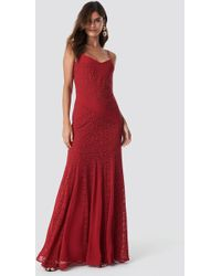 Trendyol - Lace Detailed Maxi Dress Red - Lyst