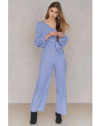 SHEIN - One Shoulder Gathered Sleeve Jumpsuit - Lyst