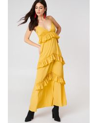 Boohoo - Ruffle Strap Maxi Dress Yellow - Lyst