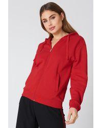 NA-KD - Basic Zipped Hoodie Red - Lyst