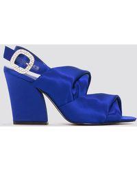 05ed9cfbe479 Lyst - Ted Baker Kerrias Blue Suede Cobalt Block Heel Sandal in Blue