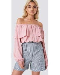Glamorous - Off Shoulder Ruffle Blouse Pink - Lyst