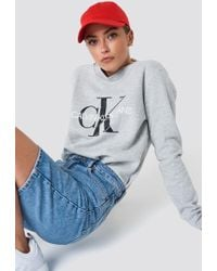 Calvin Klein - Core Monogram Logo Sweatshirt Light Grey Heather - Lyst