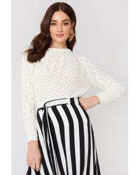 Mango - Openwork Knit Sweater Light Beige - Lyst