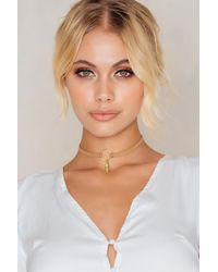 NA-KD - Doublestrap Feather Circle Choker - Lyst