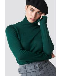 Mango - Agata Jumper Dark Green - Lyst