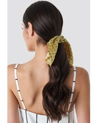 NA-KD Yellow Patterned Knot Scrunchie Yellow