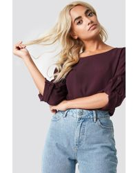 Rut&Circle - Roll Up Blouse Wine Red - Lyst