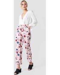 NA-KD - Elastic Waist Straight Pants Pink Tulip Pattern - Lyst