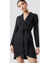 Trendyol - Wrap Around Belt Dress Black - Lyst