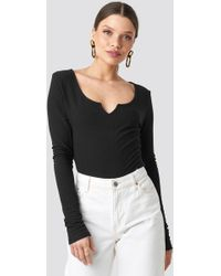 NA-KD - Long Sleeve Ribbed Top Black - Lyst