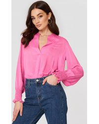 Mango - Ruched Sleeve Blouse Pink - Lyst