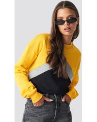 NA-KD - Blocked Chest Sweatshirt Yellow - Lyst