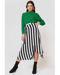 Mango - Striped Asymmetric Skirt - Lyst