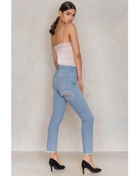NA-KD - Back Ripped Highwaist Jeans Mid Blue - Lyst