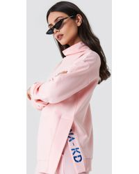 NA-KD - Slit Embroidery Sweatshirt Light Pink - Lyst