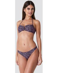 NA-KD - Bikini Panty Black/pink Leaves - Lyst