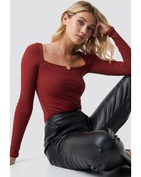 NA-KD - Square Shape Ribbed Top Wine Red - Lyst