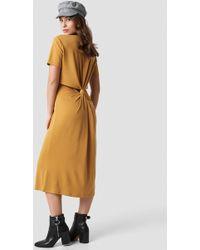 NA-KD - Back Cut Out Dress Mustard - Lyst