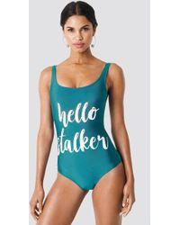 Trendyol - Hello Stalker Swimsuit Green - Lyst