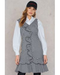 NA-KD - Ruffle Midi V-neck Dress Gingham - Lyst