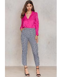 NA-KD - Frill Detail Pants Gingham - Lyst