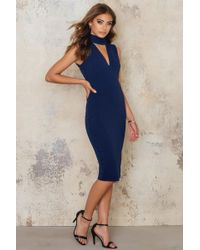 Goddiva - V Cutout High Neck Midi Dress - Lyst