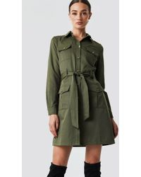 NA-KD - Pocket Detail Shirt Dress Khaki Green - Lyst