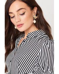 Mango | Pearl Detail Metallic Earrings | Lyst