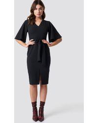 171ba098877 Trendyol Striped Knitted Midi Dress Black in Black - Lyst