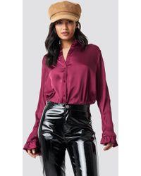 NA-KD - Satin Shirt Burgundy - Lyst