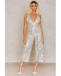 Rare London - Plunge Sequin Jumpsuit - Lyst