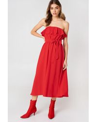 NA-KD - Flounce Midi Dress - Lyst