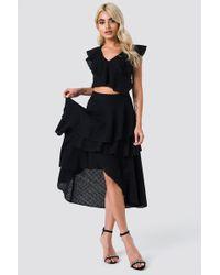 NA-KD - Metallic Flounce Skirt Black - Lyst