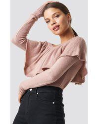 NA-KD One Shoulder Flounce Knitted Jumper Pink