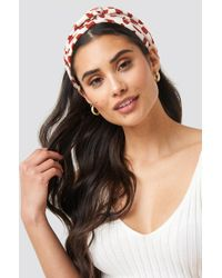 NA-KD Patterned Big Bow Hairband Nude - Multicolor