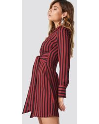 NA-KD - Tied Waist Striped Dress Black/red - Lyst