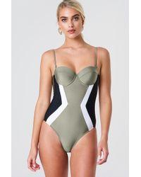 Trendyol - Cupped Swimsuit Khaki - Lyst