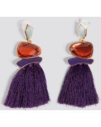 Trendyol - Stone Tassel Earrings Purple - Lyst